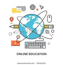 design online education vector illustration online education flat line stock vector