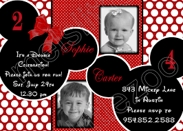 mickey mouse clubhouse birthday invites red and white polka dots twin minnie mickey mouse digital birthday