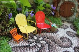 Flower Garden Chairs Miniature House Beneath The Ferns