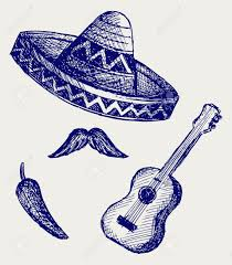 mexican symbols doodle style royalty free cliparts vectors and