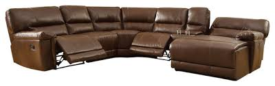 Sectional Reclining Sofas Homelegance Blythe Leather Sectional Reclining Sofa In Warm Brown