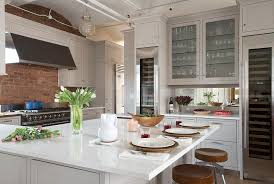 Kitchen With Brick Backsplash Light Gray Cabinets With Red Brick Backsplash Transitional Kitchen