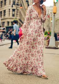 floral maxi dress multicolor bohemian floral print ruffle v neck floor length