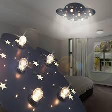 éclairage chambre bébé nuage luminaire de plafond led enfant bleu le ciel étoilé