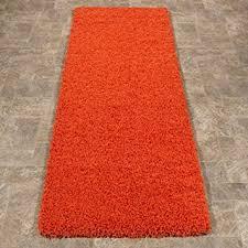 Orange Runner Rug Ottomanson Soft Cozy Color Solid Shag Runner Rug