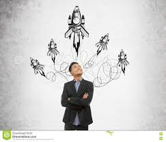 businessman with rocket sketch stock image image 75065031