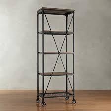 Rustic Wood Bookshelves by Amazon Com Modern Industrial Rustic Riveted Black Metal U0026 Wood