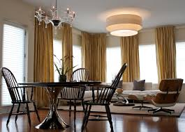 Dining Room Drum Light Stylish Earth Tone Curtains Decor With Drum Light Fixture Dining