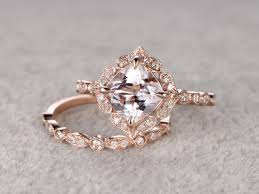2pcs 8mm morganite bridal ring set art deco engagement ring 14k