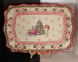 temptations old world holiday christmas tree platter with gift box