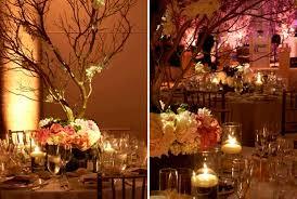 Manzanita Centerpieces Candlelit Wedding Reception Manzanita Branches Accented With