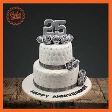 silver jubilee anniversary fondant cake delivery all over karachi