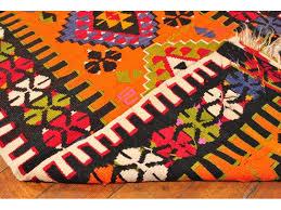 Rug Kilim Orange Turkish Rug Kilim Carpet Black Handwoven Rug Kilim