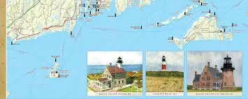 Michigan Lighthouse Map by Massachusetts U0026 Rhode Island Lighthouses Illustrated Map U0026 Guide