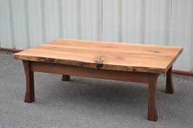 live edge white oak coffee table with curved walnut legs corey