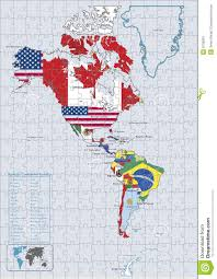 United States Map Puzzles by America Continental Country Flags And Map Puzzle Stock Image