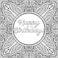 happy birthday lettering coloring message vintage