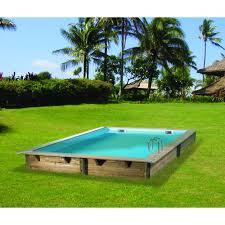 amenagement autour piscine hors sol piscine hors sol bois carrée 300x300cm linea liner bleu 75 100