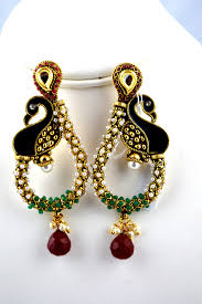 peacock design earrings indian jewelry store swasam polki peacock design earring