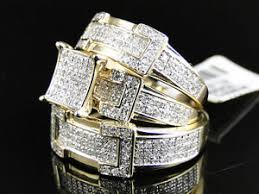 wedding ring trio sets 14k yellow gold cut diamond engagement bridal wedding ring