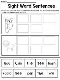 cut and paste sight word sentences this packet features 11