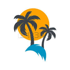 sun and palm trees summer vector illustration royalty free