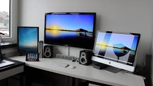 popular home office computer setup with a monitor wireless