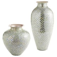 Capiz Vase White U0026 Silver Mosaic Vases