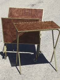 Folding Tray Table Set Vintage Tv Trays Table Set Mid Century Retro Folding Tray Tables