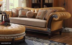 Fabric Or Leather Sofa Leather Sofa With Material Cushions Www Energywarden Net