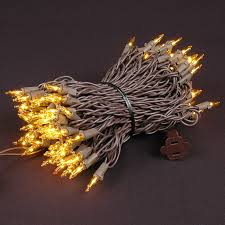 yellow mini lights set 100 light brown wire 50