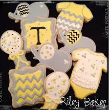 grey and yellow chevron baby shower cookies riley bakes