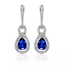 dimond drop winsor bishop 18ct white gold pear cut sapphire and diamond drop