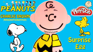 the peanuts movie charlie brown play doh surprise egg snoopy and