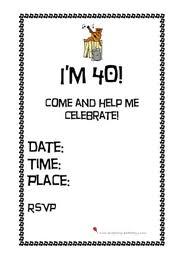 free printable 40th birthday party invitations printable invitations