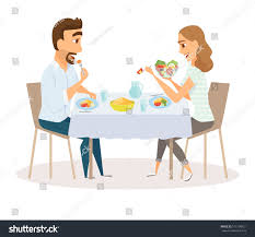 loving couple eating meal kitchen table stock vector 571108921