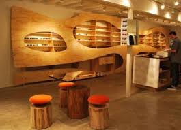wooden interior decorating concepts for boutique and eyewear