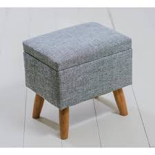 fabric storage footstool grey