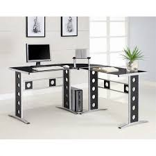 coaster modern l shape desk with silver frame black glass