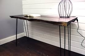 salvaged wood desk with black hair pin legs refresh