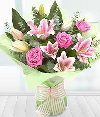 roses and lilies and classic pink roses pink lilies
