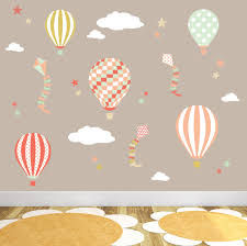 Wall Decals Patterns Color The by Air Balloon Wall Decal Kites And Stars Baby Wall Stickers
