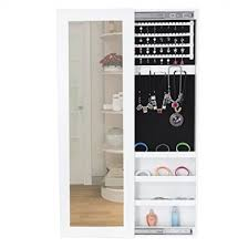 Jewellery Organiser Cabinet Songmics 120 X 36 Cm Jewellery Cabinet Wall Mounted Mirror