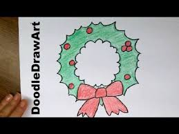 drawing draw super easy cartoon christmas wreath