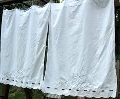 White Cotton Curtains Vintage Martha White Cotton Eyelet Cafe Curtains By Monetsattic