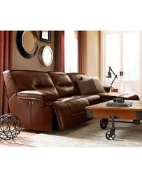 henry leather power recliner sofa tobacco west elm corte