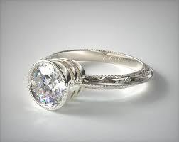 bezel engagement ring milgrain bezel diamond engagement ring 14k white gold 17189w14