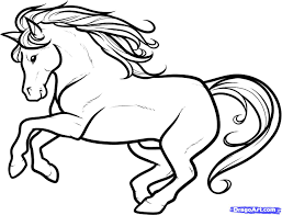 stallion clipart black and white pencil and in color stallion
