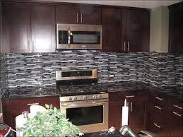 Kitchen  Layered Stone Backsplash Dark Backsplash White Cabinets - Layered stone backsplash