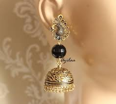 jhumka earrings online peacock black antique gold tone jhumka earrings online in india